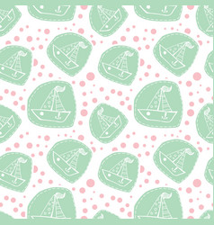 cute boat in patchwork style pattern vector image