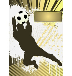 football grunge poster template with soccer player vector image