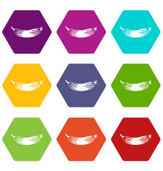 fresh cucumber icon set color hexahedron vector image