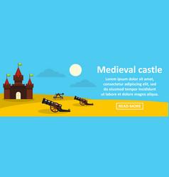 medieval castle banner horizontal concept vector image