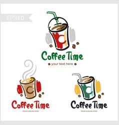 set of retro coffee badge label logo design in vector image