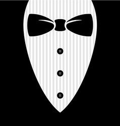 Bow tie with shirt buttons and man black suit vector image vector image