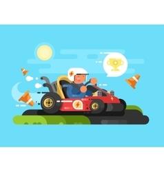 Riding a karting design flat vector image vector image