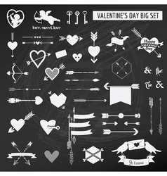 Valentines Day Set - on chalk boarder vector image vector image
