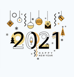 2021 new year minimal banner with gold elements vector image