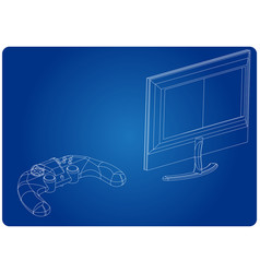 3d model of joystick and monitor on a blue vector image