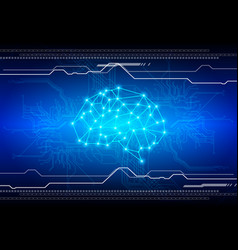 Abstract brain with circuit technology background vector