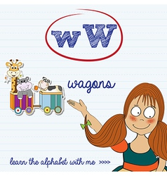 Alphabet worksheet of the letter w vector