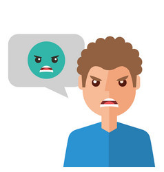 angry young man with emoticon avatar character vector image