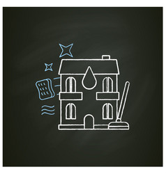 Apartment cleaning chalk icon vector