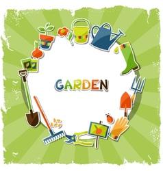 Background with garden sticker design elements vector