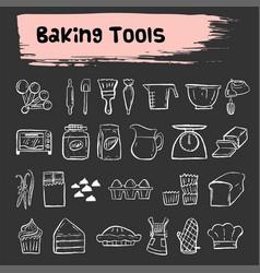 Baking tools doodle sketch icon set vector