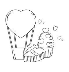 balloon air hot with heart shape and cupcake vector image