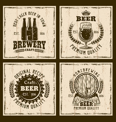 Beer vintage emblems labels prints vector