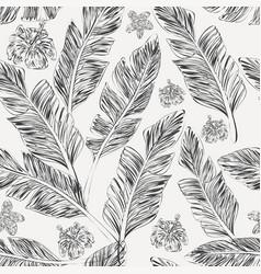 black palm leaves hibiscus plumeria white vector image