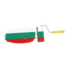 brush stroke with bulgaria national flag isolated vector image
