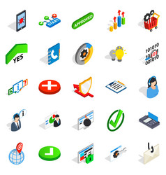 Business model icons set isometric style vector