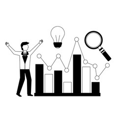 businessman creativity chart and magnifying glass vector image