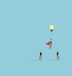 Businessman rising with idea bulb as balloon vector