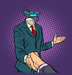 Businessman shaking hands in virtual reality a vector