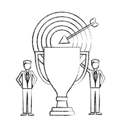 businessmen with business trophy and target vector image