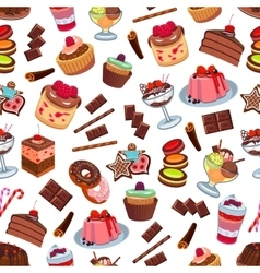 Cakes and patisserie desserts seamless pattern vector