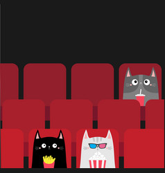 Cat set in movie theater eating popcorn french vector