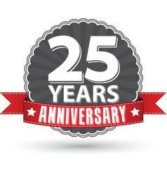 Celebrating 25 years anniversary retro label vector