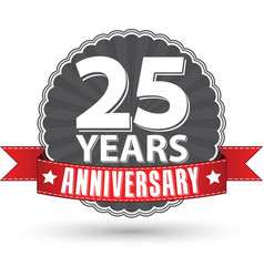Celebrating 25 years anniversary retro label with vector