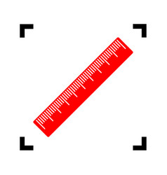 centimeter ruler sign red icon inside vector image