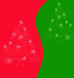 Christmas tree on red green background vector