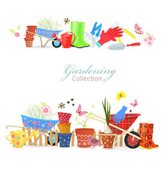 collection of borders with colorful gardening vector image vector image