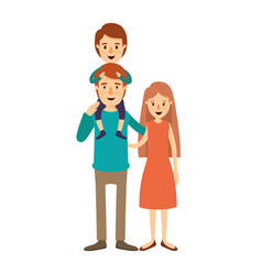Colorful image caricature family mother and father vector