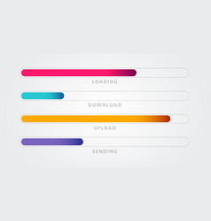 colorful loading bar set download and upload vector image