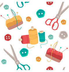 colorful seamless pattern with sewing and knitting vector image