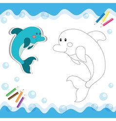 Coloring book dolphin vector image