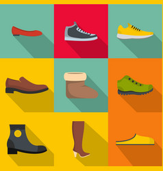 comfortable footwear icons set flat style vector image