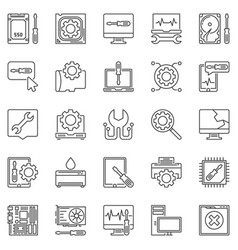 Computer repair outline icons computer vector