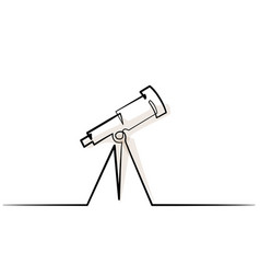 Continuous one line drawing school telescope icon vector