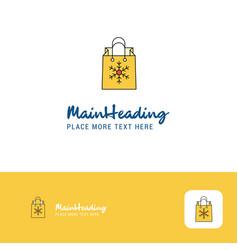 creative christmas shopping bag logo design flat vector image