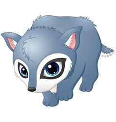 cute baby wolf walking vector image