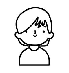 cute little boy cartoon character portrait thick vector image