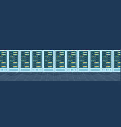 data storage center with hosting servers and staff vector image