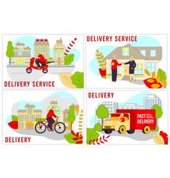 delivery service cartoon line vector image