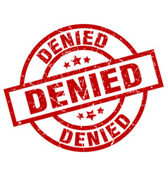 denied round red grunge stamp vector image