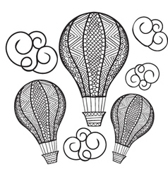 doodle hand drawn hot air balloon for coloring boo vector image