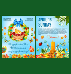 easter day celebration cartoon poster template vector image