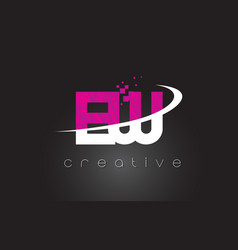 Ew e w creative letters design with white pink vector