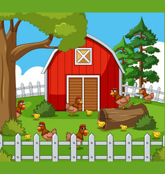 Farm scene with many hens and chicks vector