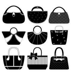 Female bag handbag purse fashion woman a set of vector